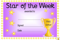 Star Of The Week Award Certificate Template  Violet throughout Best Student Of The Week Certificate Templates