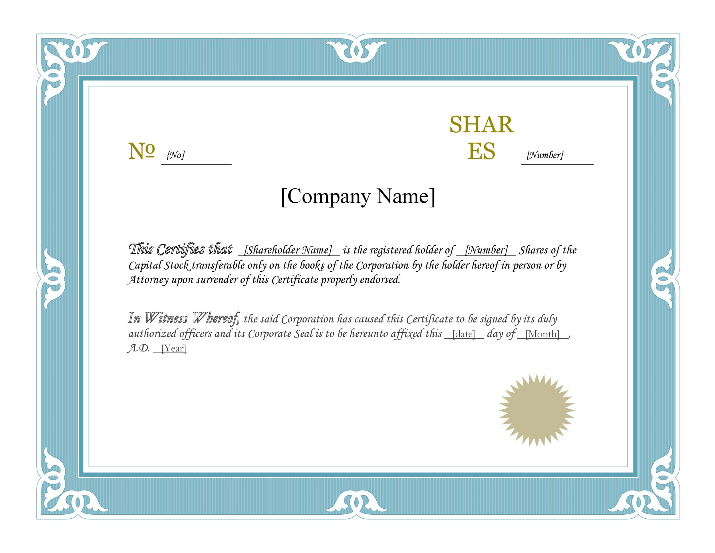 Stock Certificate Template Microsoft Word Free  Matah within Awesome Free Stock Certificate Template Download