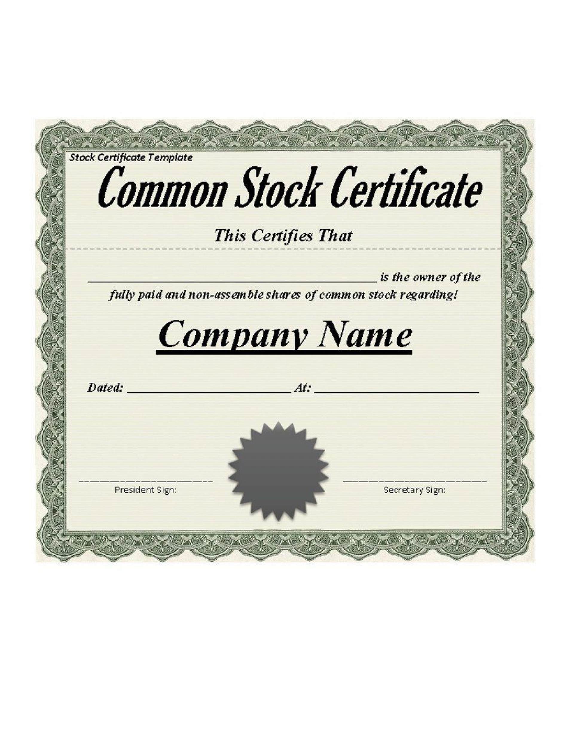 Stock Certificate Template Word  Addictionary for Amazing Stock Certificate Template Word
