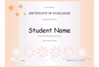 Student Excellence Award Elementary  Free Certificate for Award Of Excellence Certificate Template