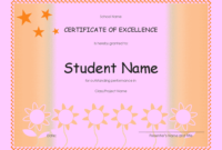 Student Excellence Award Elementary  Free Certificate within Quality Academic Award Certificate Template