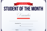 Student Of The Month Certificate Template  December intended for Free Printable Student Of The Month Certificate Templates