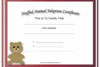 Stuffed Animal Adoption Certificate Template Download for Stuffed Animal Birth Certificate