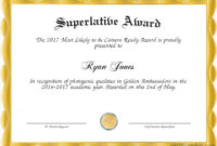 Superlative Certificate Template Good Superlative Award with Superlative Certificate Template