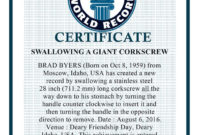 """""""Swallowing A Giant Corkscrew"""" Bharat World Record in Guinness World Record Certificate Template"""