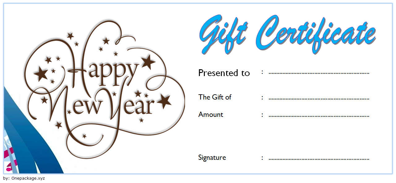 Sweet And Elegant New Year Gift Certificate Template Free regarding Printable Elegant Gift Certificate Template