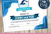Swimming  Certificate  Printable  3Grafik  Swimming throughout Printable Swimming Certificate Template
