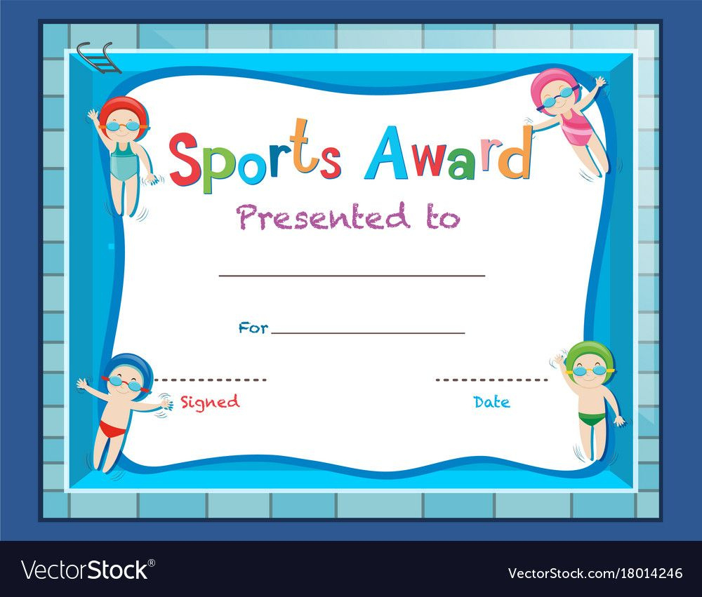 Swimming Certificate Template Free  Tunuredminico In for Certificate Of Achievement Template For Kids