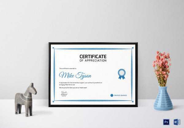 Table Tennis Certificate Template  7 Free Word Pdf Psd in Awesome Tennis Achievement Certificate Templates