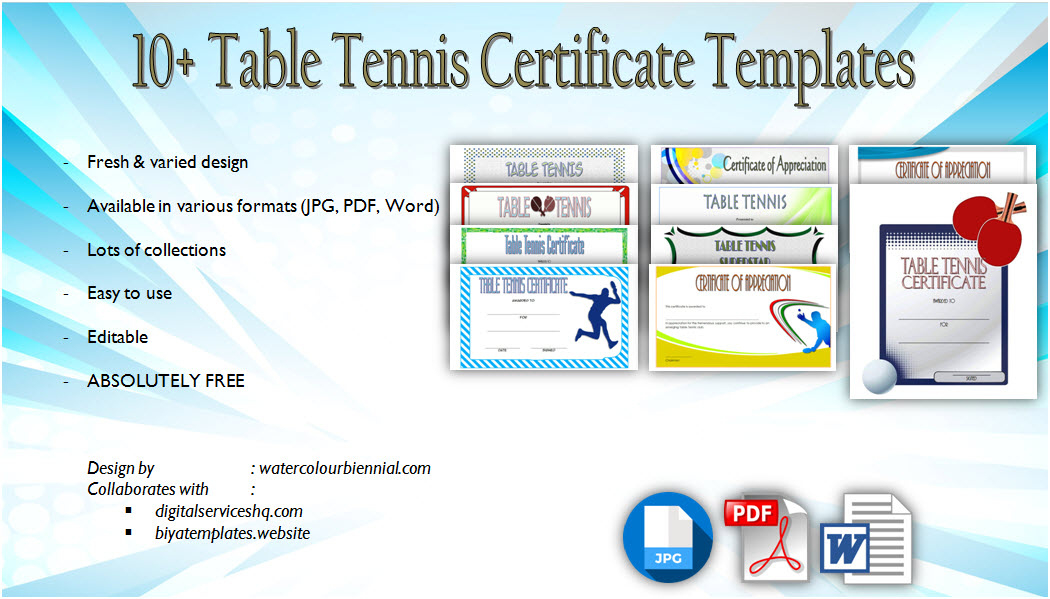 Table Tennis Certificate Templates Editable 10 Best Designs in Awesome Tennis Achievement Certificate Templates