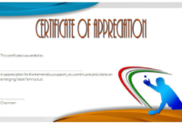 Table Tennis Certificate Templates Free 10 Typical Designs regarding Printable Tennis Certificate Templates 20 Ideas