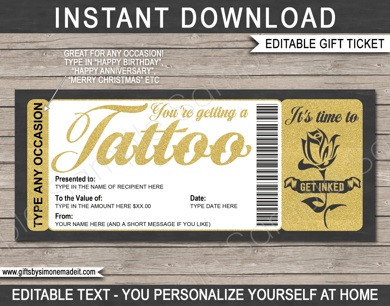 Tattoo Gift Certificate Card Template  Diy Printable Gift regarding Tattoo Gift Certificate Template