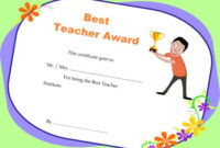 Teacher Of The Month Certificate Template  Templates Example pertaining to Best Teacher Certificate Templates Free