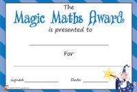 Teacher'S Pet  'The Magic Maths Award'  Certificate for Printable Math Award Certificate Templates