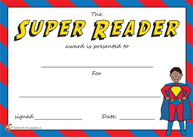 Teacher'S Pet  The Super Reader Award Certificate  Free in Awesome Summer Reading Certificate Printable
