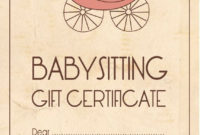 Template For Babysitting Gift Certificate Babyshower inside Best Birthday Gift Certificate Template Free 7 Ideas