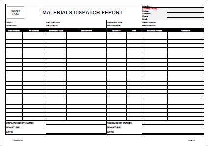 Template  Materials Dispatch Report • Allsafety throughout Quality Safety Training Log Template