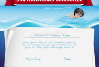 Template Of Certificate For Swimming Award Stock Vector intended for Swimming Award Certificate Template