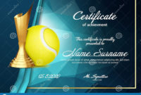 Tennis Certificate Diploma With Golden Cup Vector Sport in Tennis Gift Certificate Template
