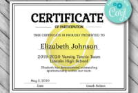Tennis Certificate Template Free 6 intended for Amazing Tennis Tournament Certificate Templates