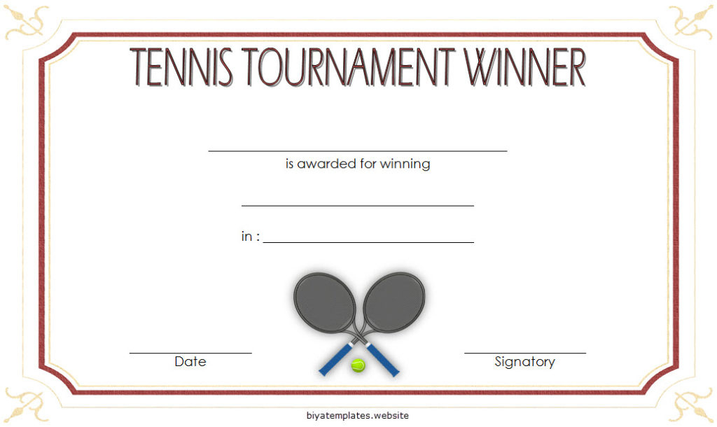 Tennis Tournament Certificate Templates 8 Sporty Designs intended for Baseball Certificate Template Free 14 Award Designs