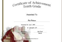 Tenth Grade Achievement Certificate Printable Certificate in Printable School Promotion Certificate Template 10 New Designs Free