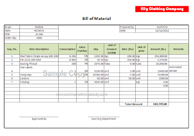 Textile  Clothing Info Bill Of Material Bom Format for Amazing Fashion Cost Sheet Template