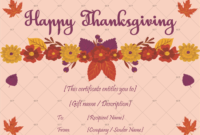 Thanksgiving Gift Certificate Template Floral 5618  Gct intended for Thanksgiving Gift Certificate Template Free