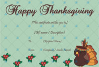 Thanksgiving Gift Certificate Template Sky  Gift in Thanksgiving Gift Certificate Template Free