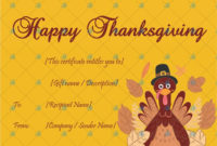 Thanksgiving Gift Certificate Template Yellow  Gift intended for Thanksgiving Gift Certificate Template Free