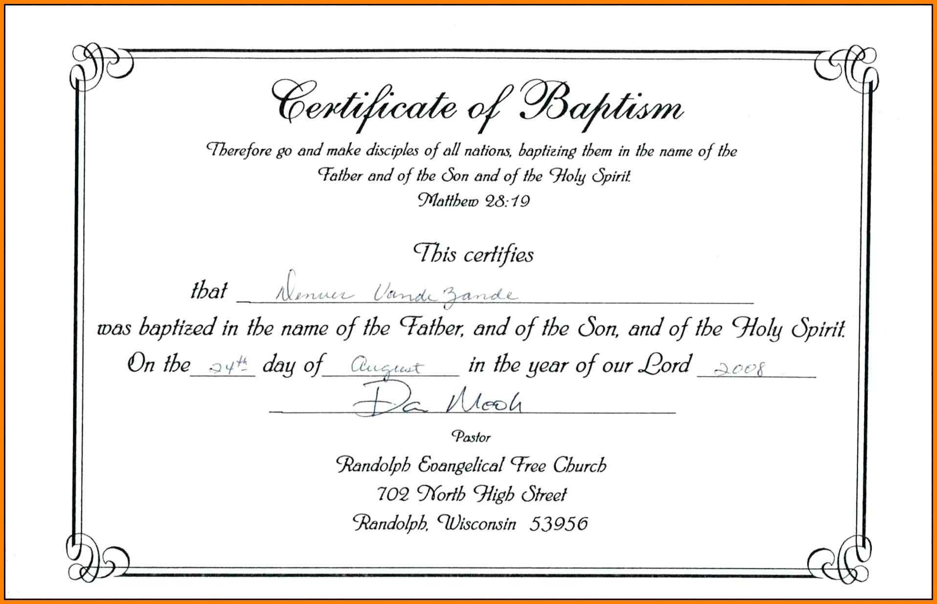 The Awesome Free Printable Certificate Of Baptism  Mult with Quality Christian Baptism Certificate Template