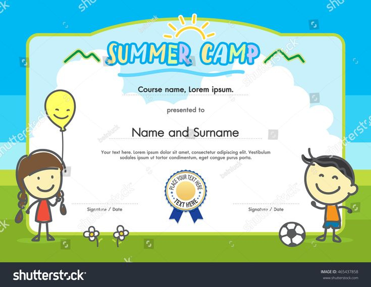 The Awesome Kids Summer Camp Certificate Document Template for Summer Camp Certificate Template