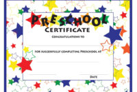 The Interesting 11 Preschool Certificate Templates  … In within Best Certificate For Pre K Graduation Template