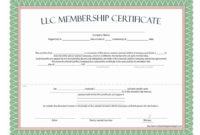 The Marvellous Llc Membership Certificate  Free Template intended for Ownership Certificate Template