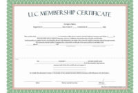 The Marvellous Llc Membership Certificate  Free Template throughout Best Ownership Certificate Templates