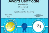 The Outstanding Free Tennis Certificates  Edit Online And within Awesome Editable Tennis Certificates