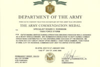 The Stunning Army Achievement Medal Certificate Template regarding Army Certificate Of Appreciation Template