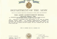 The Terrific Army Achievement Medal Certificate Template for Best Commemorative Certificate Template