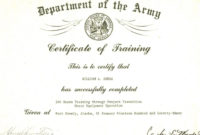 The Terrific Editable Army Certificate Of Training intended for Free Certificate Of Achievement Army Template
