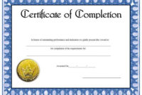 This Bluebordered Certificate Of Completion Includes A with Awesome Free Printable Best Wife Certificate 7 Designs