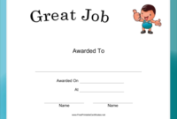 This Great Job Certificate Includes A Little Guy Giving A with Well Done Certificate Template