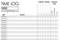 Time Management Log  Charlotte Clergy Coalition regarding Free Restaurant Manager Log Book Template