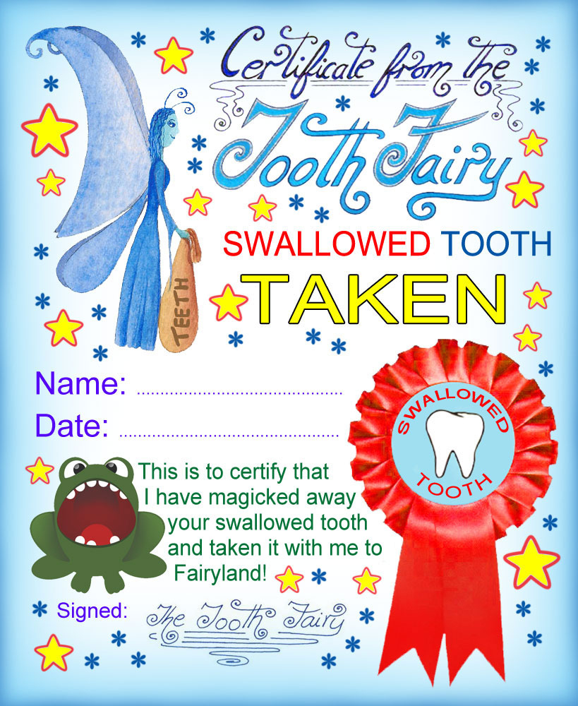 Tooth Fairy Certificate Swallowed Tooth Taken  Rooftop with regard to Quality Free Tooth Fairy Certificate Template