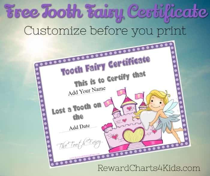 Tooth Fairy Certificate with regard to Printable Tooth Fairy Certificate Template Free