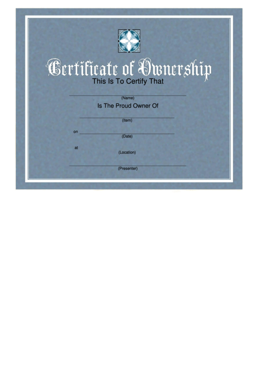 Top 13 Certificate Of Ownership Templates Free To Download with Ownership Certificate Template