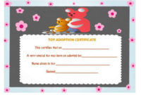 Toy Adoption Certificate  Certificate Templates Adoption in Awesome Rabbit Adoption Certificate Template 6 Ideas Free