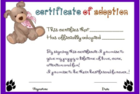 Toy Adoption Certificate Template 8  Templates Example intended for Dog Adoption Certificate Template