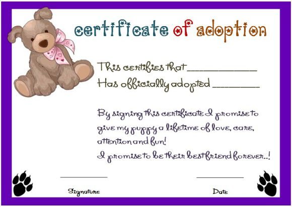 Toy Adoption Certificate Template 8  Templates Example pertaining to Free Pet Adoption Certificate Editable Templates