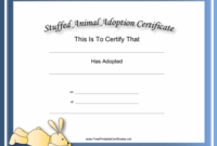 Toy Adoption Certificate Template  Hand Plane Goodness with Stuffed Animal Adoption Certificate Editable Templates