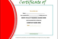 Training Certificate Template Doc Sample  Sample for Amazing Template For Training Certificate